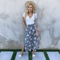 Grey Floral High Waist Pants