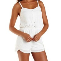 White Gingham-Textured Button-Up Romper by Charlotte Russe