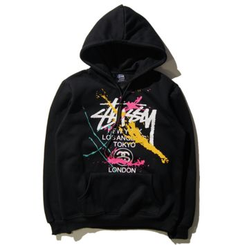 ''Stussy' Fashion Drawstring Embroidery Long Sleeve Top Sweater Pullover Hoodie