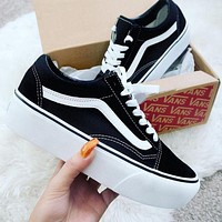 High Quality Vans Stylish Women Casual Old Skool Platform Black Sneaker Thick Shoe Sole I
