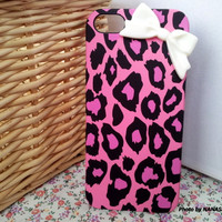 Allover Shocking PINK LEOPARD with White RIBBON for iPhone 5, Smartphone Case, iPhone Case