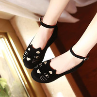 Cat embroidery wedge shoes