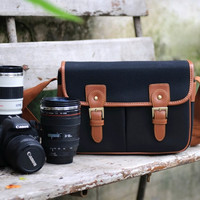 Leather Canvas Camera Bag - DSLR Camera Bag - SLR Camera Bag - Messenger Bag - Vintage Look Shoulder Bag School Bag - Travel Bag - Crossbody
