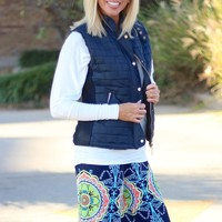 Navy Blue Quilted Vest with Faux Fur