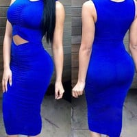 Blue Ruched Cut Out Midi Dress