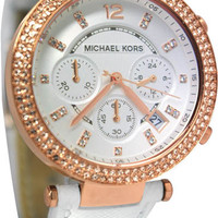 Michael Kors Rose Gold Tone White Leather Strap MK2281