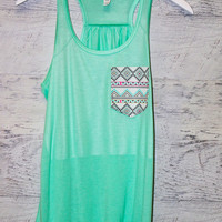 Luna Lake Aztec Front Pocket Mint Tank Top