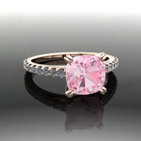 Gemstone Engagement Ring Pink Topaz and Diamonds 2.90 CTW