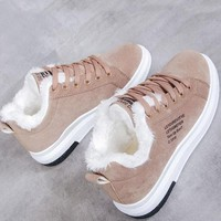 New Brown Round Toe Print Fashion Ankle Shoes