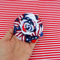 Patriotic Brooch, Fourth of July Hair Clip Flower,Handmade Fabric Flower,Red White Blue Rose 4th of July Brooch Hair Clip