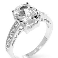 Evelina Oval Solitaire Engagement Ring | 3ct | Cubic Zirconia | Sterling Silver