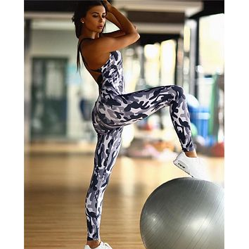 Yoga Sexy Backless Slim Camouflage Sports Jumpsuit [10193293575]