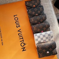 Bunchsun Louis Vuitton LV Hot Selling Fashion Men's and Women's Printed Letter Button Inside Wallet