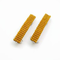 Mini Bright Mustard Beaded Authentic French Barrettes, 40mm