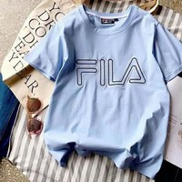 FILA Bust Word Print Women Men Cotton Tee Shirt Top