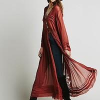 Free People Womens FP One Shirred Buttondown Maxi