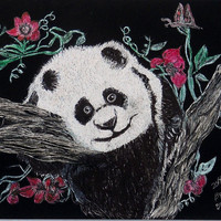 Hanging ON is a original scratch art creation of a panda bear cub,hanging in a tree that his brother fell out of.It is 81/2 x11 inches