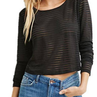 Black Cropped Long Sleeve Top In Mesh Stripe