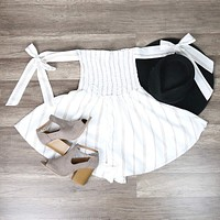Amanda - Off-The-Shoulder Stripe Romper - Ivory