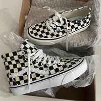 Vans classic stitching canvas shoes fashion men's and women's low-top sneakers