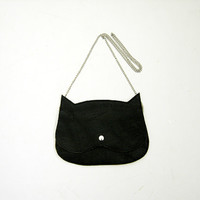 Cat bag Black Leather  Cat clutch purse, crazycatlady bag