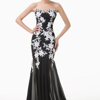 Black and White Floral Lace Sheer Evening Dress