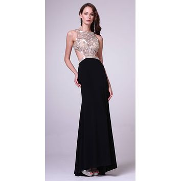 Cinderella Divine 959 Black Halter Beaded Bodice Cut Out Waist Slim Flare Prom Dress