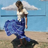 Women Skirt Vintage Crimson Wisteria Maxi Skirts Bohemian people Hippie Beach Skirt A-line saia Female faldas
