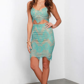 Star of the Stage Sea Green Lace Two-Piece Dress