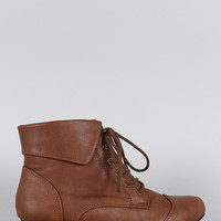 Breckelle Pointy Toe Lace Up Booties