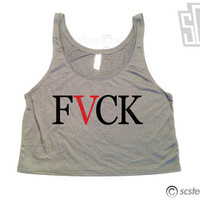 FVCK  Crop Top Tank Top x Flowy Cut Off Singlet