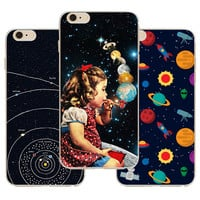 Airship Astronaut Stars Case Cover For Apple iPhone 6 6S Case Silicone 6 Series Moon Night Case For Phone 4.7 Cases