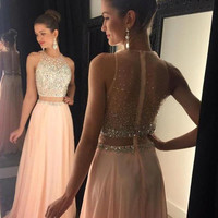 Robe de soiree Pink Prom Dresses 2016 High Neck Sleeveless Sweep Train A-line Chiffon Zipper Back Evening Dress