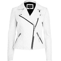 River Island Womens White embossed leather jacket