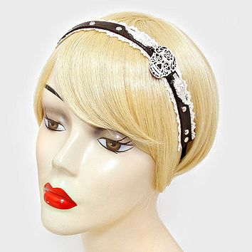 Black Day Of The Dead Mexican Sugar Skull & Wings Faux Leather Lace Stretch Headband