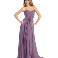 Mauve Pleated Chiffon Strapless Sweetheart Gown 2015 Prom Dresses