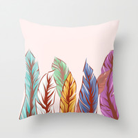 Feathers Throw Pillow by Melcsee