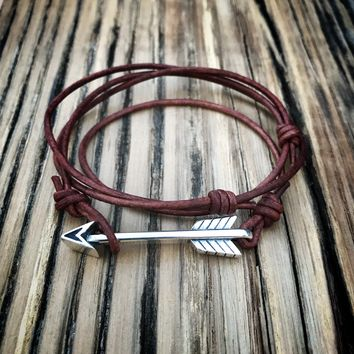 STRENGTH Arrow of Courage Bracelet - Sterling Silver on Leather Cord