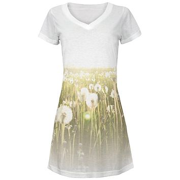 Field Of Wishes Dandelions All Over Juniors Beach Cover-Up Dress