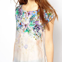 Floral Print Cap Sleeve Casual Blouse