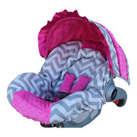 Infant car seat cover- Ships Today Gray Chevron with Hot Pink Minky