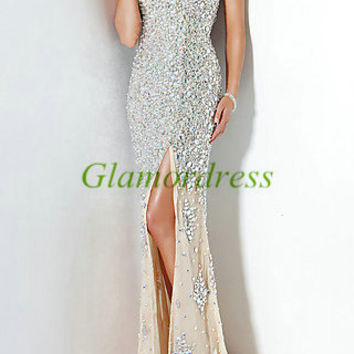 Latest long cream chiffon prom dresses with rhinestones,cheap sparkly gowns for holiday party,elegant sweep train evening gowns on sale.