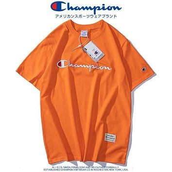 Champion new style chest logo printing fashion men's and women's round neck top casual sports short-sleeved T-shirt