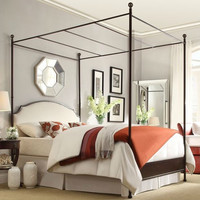 Twin size Metal Canopy Bed with Cream Upholstered Headboard