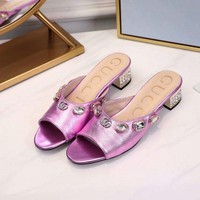 Gucci 2019 Women Fashion Crystal Decorative Button Pink Casual Flats Slipper Sandals Shoes