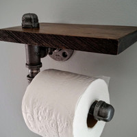 Industrial toilet paper holder with Ebony wood shelf, wall mount; Industrial Decor, steampunk decor