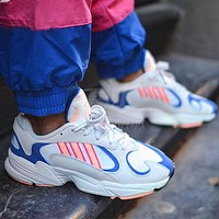 ADIDAS Yung-1 Retro Daddy Shoes Stripe Colorblock Sneakers White blue