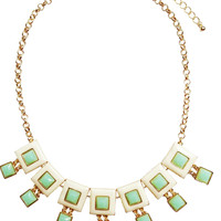 Mint & Cream Square Necklace