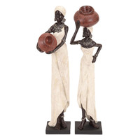 Woodland Imports Table Top Polystone African Figure Sculpture (Set of 2)
