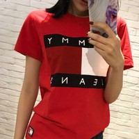 Tommy Jeans Stylish Ladies Men Logo Print Round Collar T-Shirt Pullover Top Red I